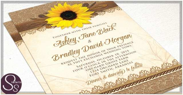 Rustic Sunflower Wedding Invitations Rustic Sunflower Wedding Invitations Rustic Paper