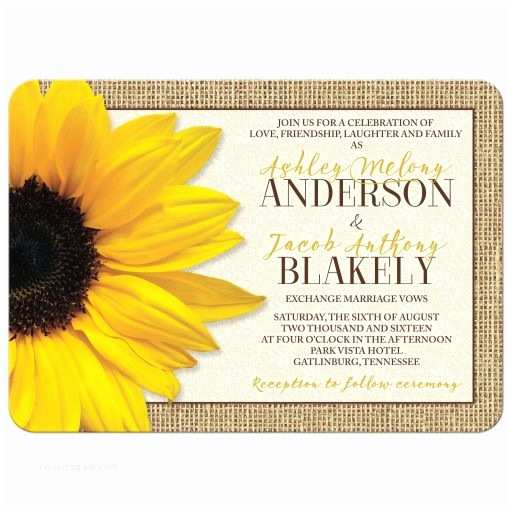 Rustic Sunflower Wedding Invitations Rustic Yellow Sunflower Lace Burlap Wedding Invitation
