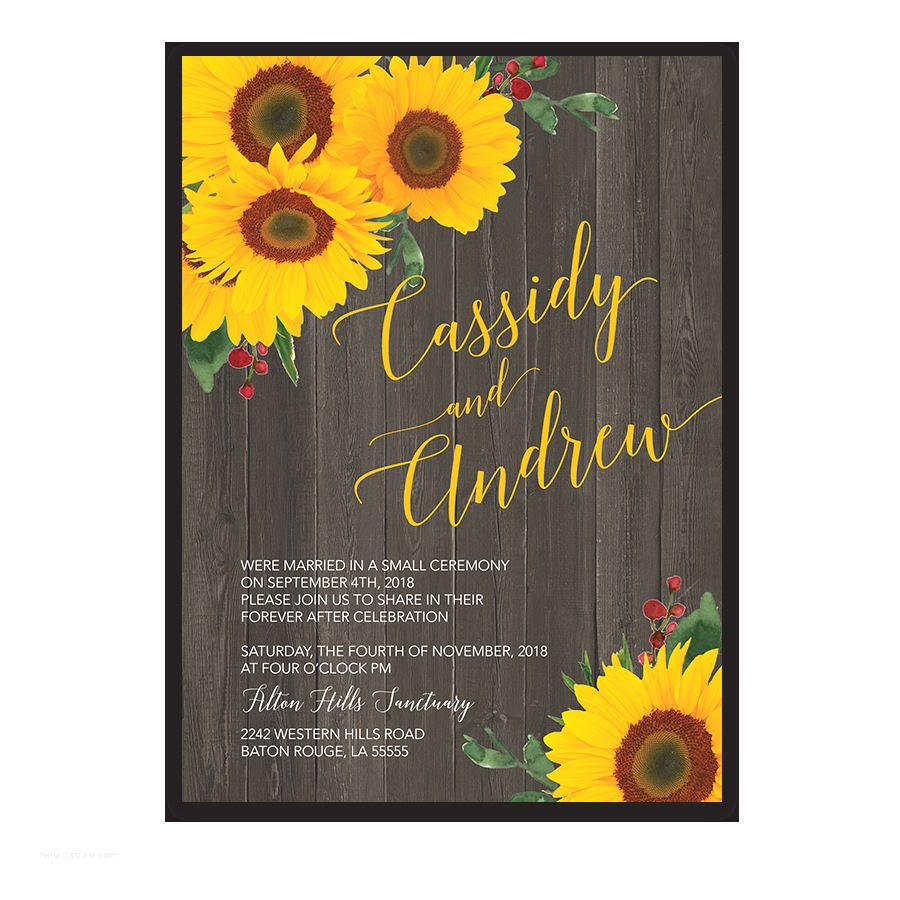 Rustic Sunflower Wedding Invitations Sunflower Rustic Wedding Reception Ly Invitation