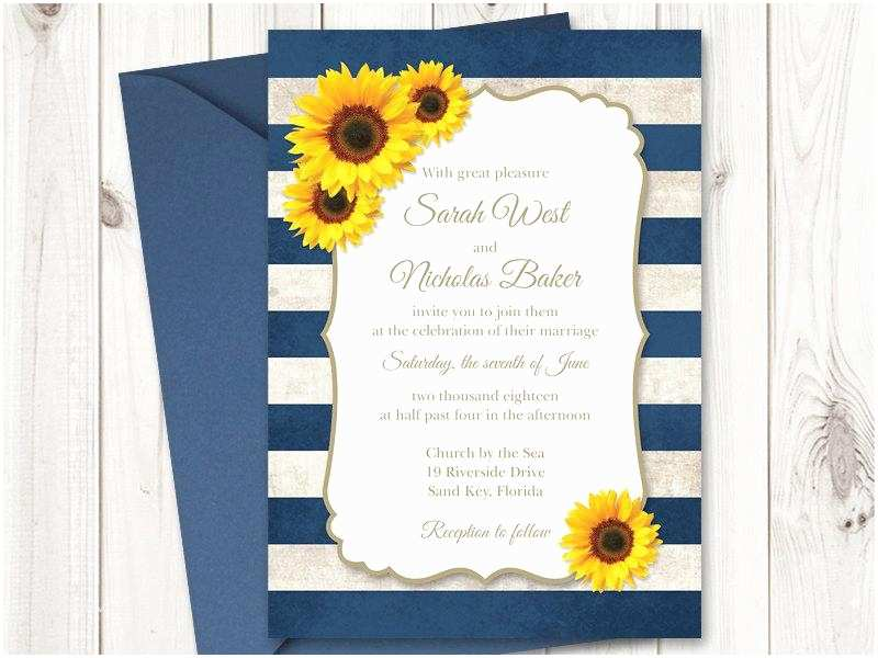 Rustic Sunflower Wedding Invitations Sunflower Wedding Invitation Printable Template with Navy