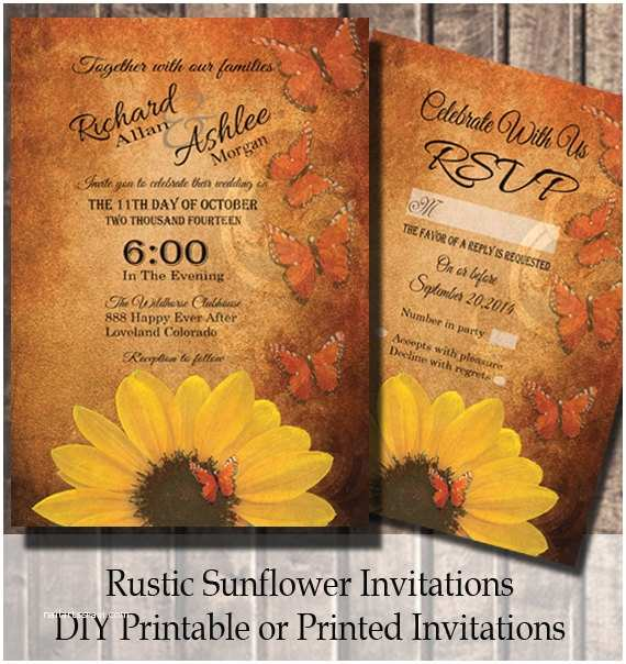 Rustic Sunflower Wedding Invitations Sunflower Wedding Invitation Rustic Wedding Invitation