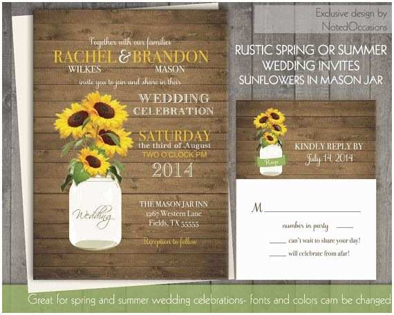 Rustic Sunflower Wedding Invitations Sunflower Wedding Invitation Set Rustic Sunflower Wedding