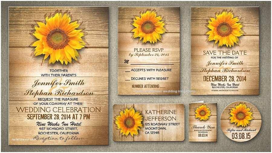Rustic Sunflower Wedding Invitations Sunflower Wedding Invitation Template