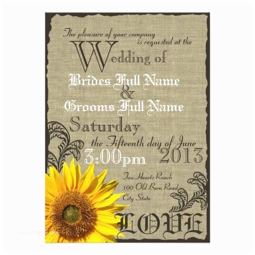 Rustic Sunflower Wedding Invitations Western Sunflower Rustic Country Wedding Personalized