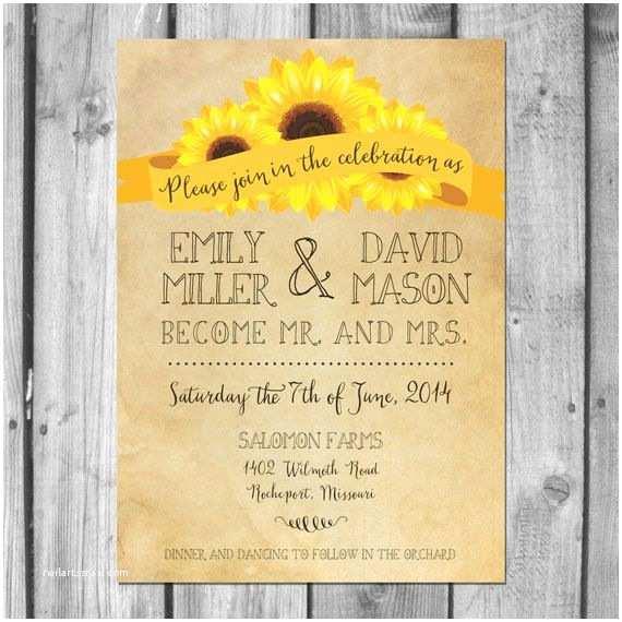 Rustic Sunflower Wedding Invitations Yellow Wedding Rustic Sunflower Wedding Invitation Set