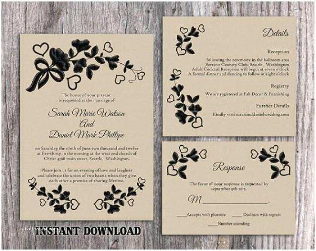 Rustic Vintage Wedding Invitations Diy Diy Lace Wedding Invitation Template Set Editable Word