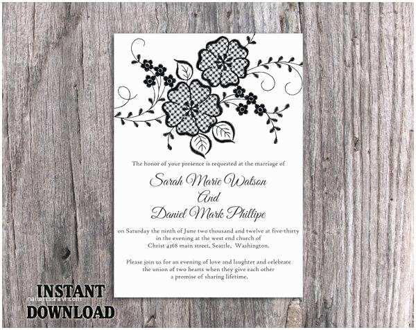 Rustic Vintage Wedding Invitations Diy Lace Wedding Invitation Template Download Printable