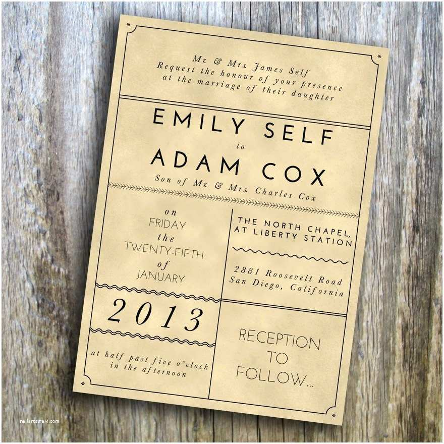 printable wedding invitation modern vintage rustic custom diy