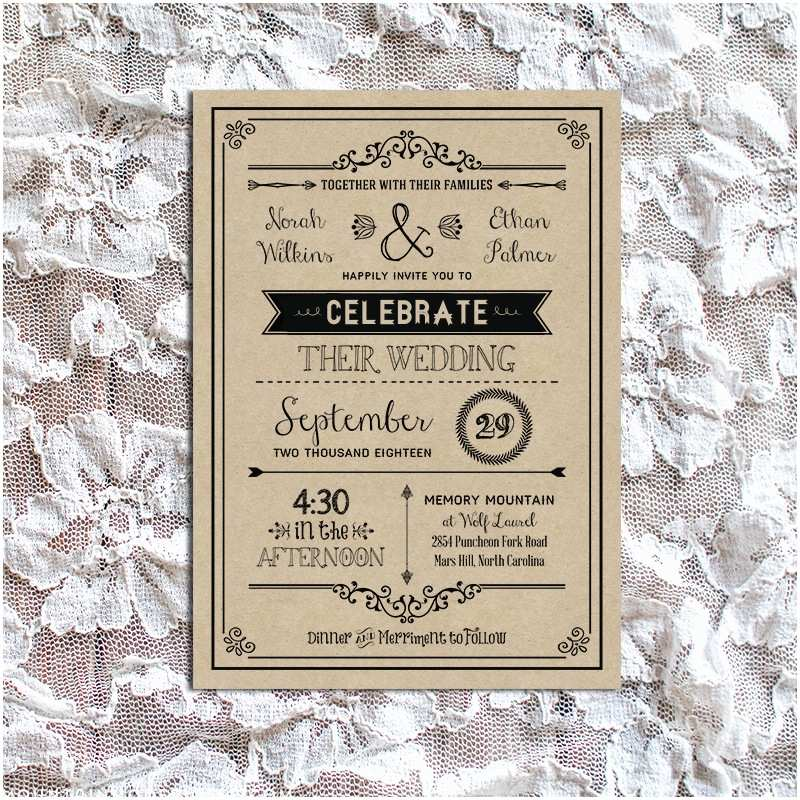 Rustic Vintage Wedding Invitations Diy Vintage Rustic Diy Wedding Invitation Template