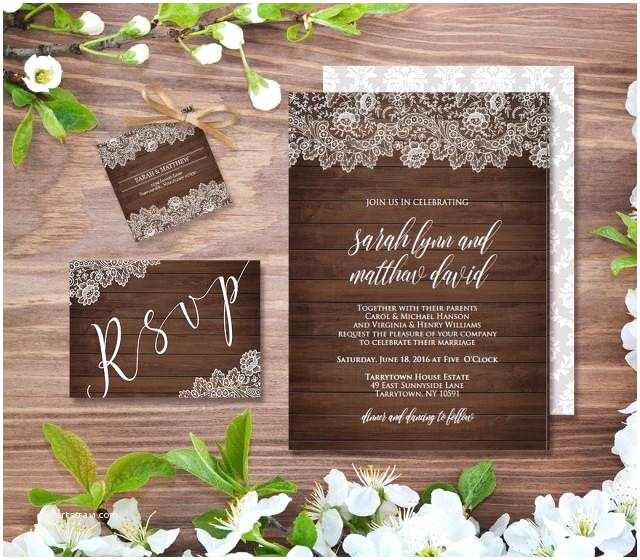 Rustic Vintage Wedding Invitations Diy Wedding Invitation Template Rustic Wood Vintage Lace Diy