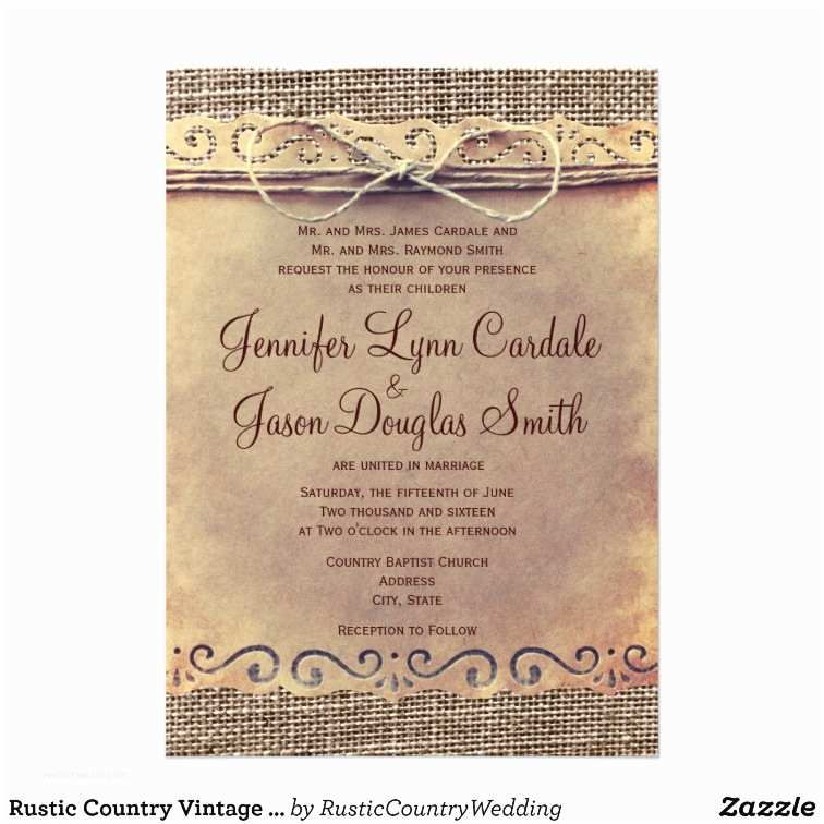 Rustic Vintage Wedding Invitations Rustic Country Vintage Burlap Wedding Invitations