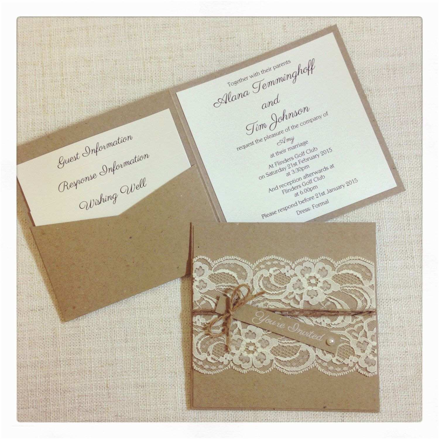 Rustic Vintage Wedding Invitations Rustic Wedding Invitation Rustic Vintage Lace Square