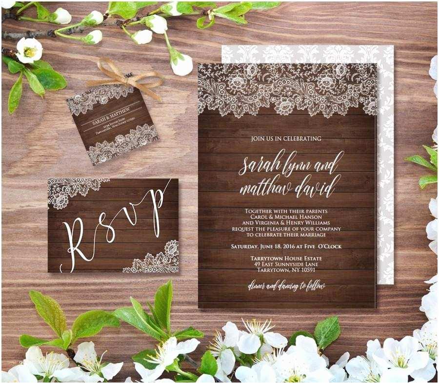 Rustic Vintage Wedding Invitations Wedding Invitation Template Rustic Wood Vintage Lace Diy