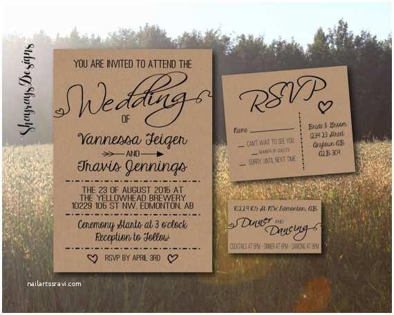 Rustic Wedding Invitation Kits Kraft Wedding Invitation Kit Rustic Wedding by