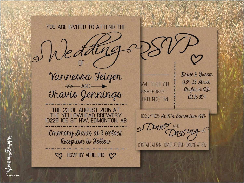 Rustic Wedding Invitation Kits Kraft Wedding Invitation Kit Rustic Wedding Invite