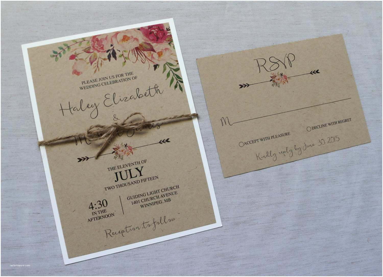 Rustic Wedding Invitation Kits Kraft Wedding Invitation Rustic Wedding Invitation Floral