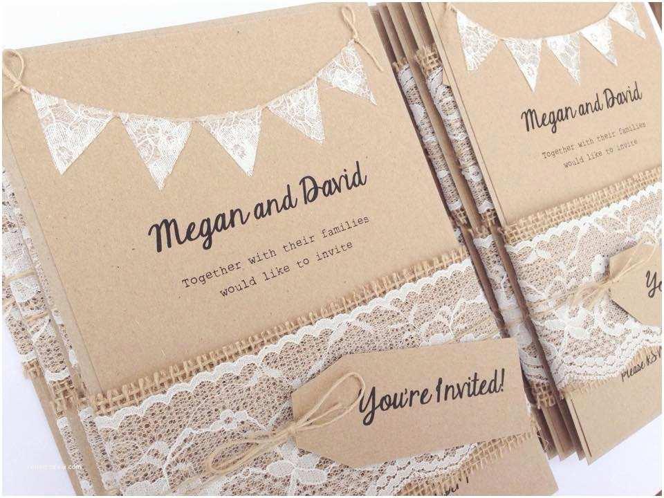Rustic Wedding Invitation Kits Rustic Calligraphy Recycled Lace Wedding Invitation Kits