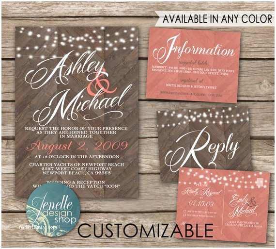 Rustic Wedding Invitation Kits Rustic Wedding Invitations Chevron Wood by Jenelledesignshop
