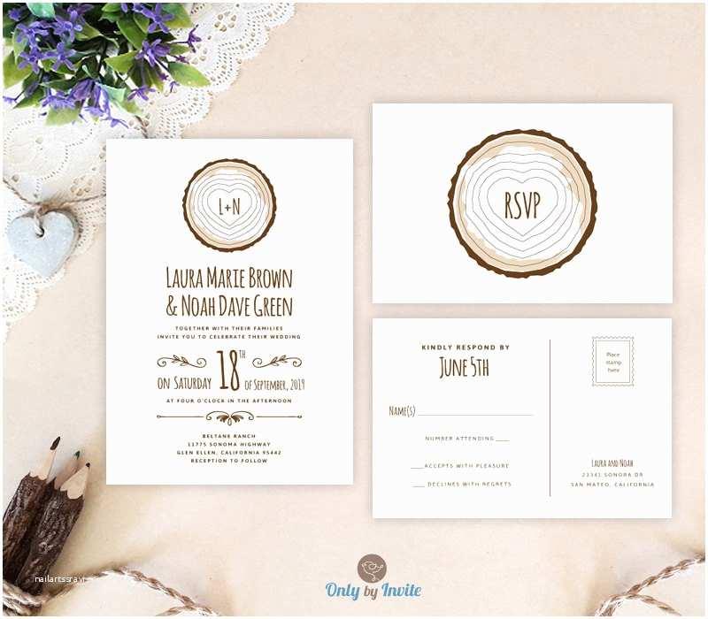 Rustic Wedding Invitation Kits Tree Stump Wedding Invitation Kits Printed Rustic forest