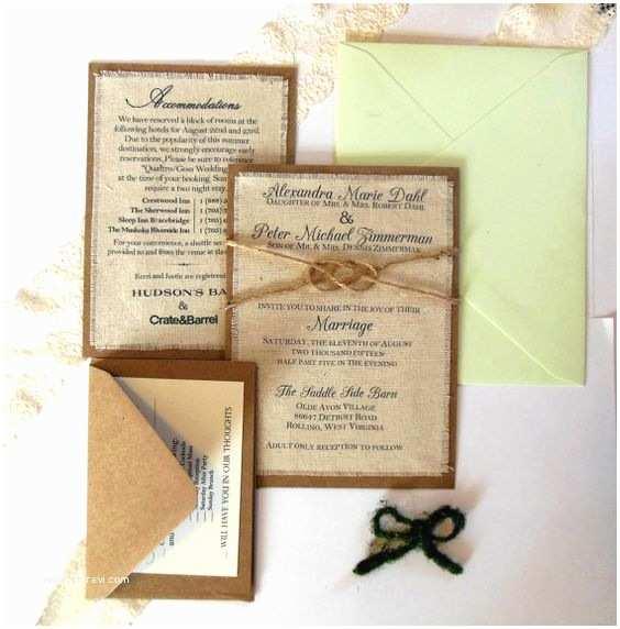 Rustic Wedding Invitation Kits Wedding Invitation Kits Invitation Kits and Burlap Fabric