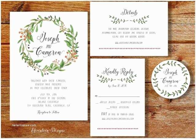 Rustic Wedding Invitation Kits Wreath Wedding Invitation Printable Printable Wedding