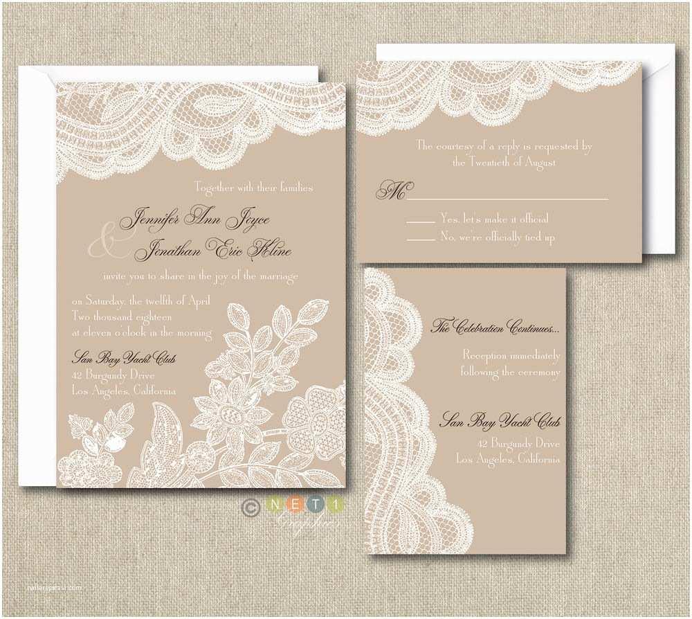 Rustic Wedding Invitation Sets 100 Personalized Custom Rustic Vintage Lace Wedding