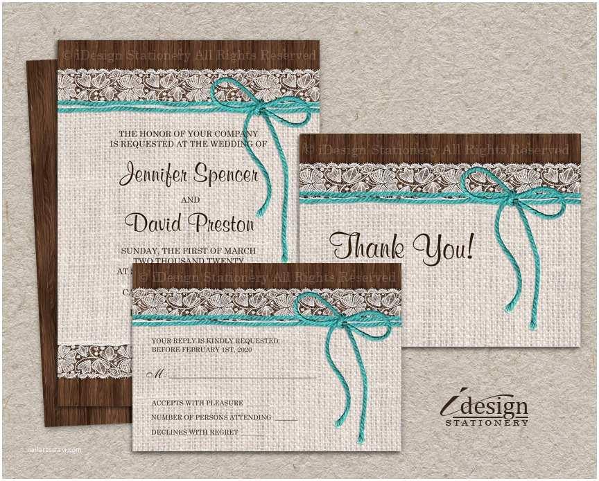 Rustic Wedding Invitation Sets Diy Printable Rustic Turquoise Wedding Invitation Sets with