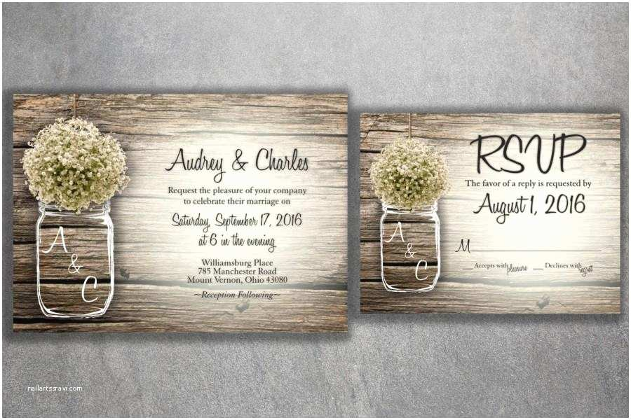 Rustic Wedding Invitation Sets Mason Jar Baby S Breath Flowers Rustic Wedding Invitation