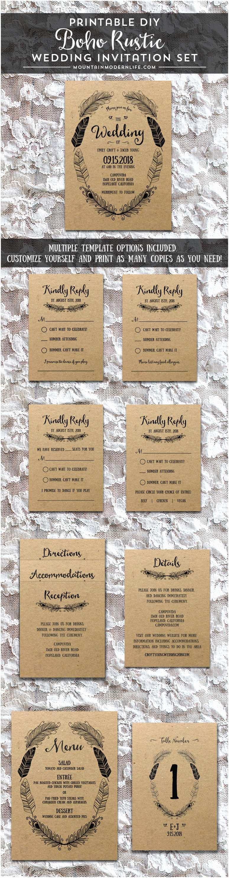 Rustic Wedding Invitation Sets Rustic Boho Diy Invitation Set