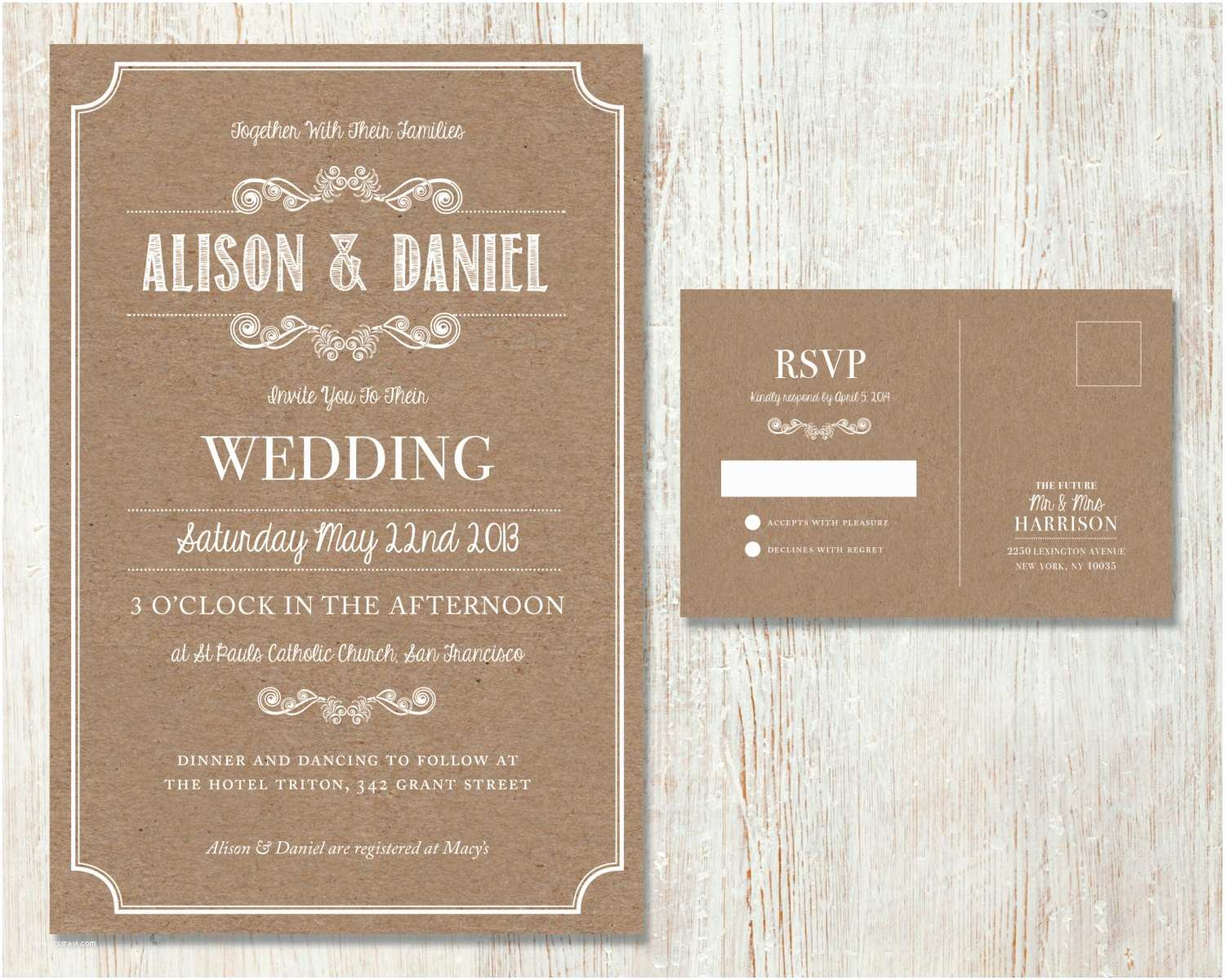 Rustic Wedding Invitation Sets Rustic Wedding Invitation Set Vintage Kraft Design Country