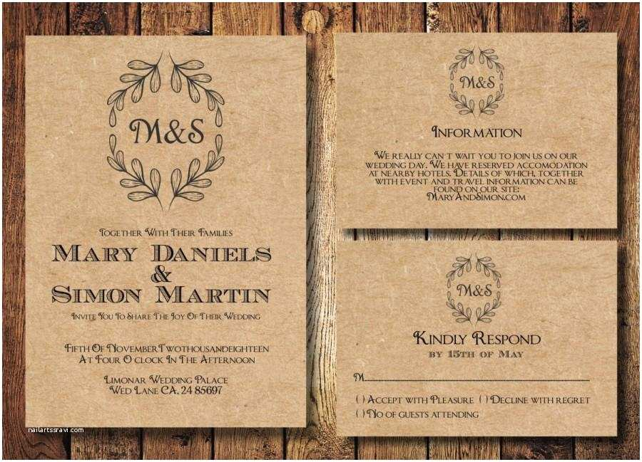 rustic wedding invitation template set kraft paper wreath casual wedding invite digital pdf personalised simple wedding invitation