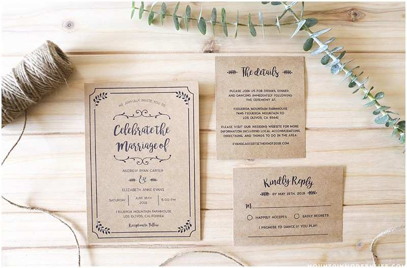Rustic Wedding Invitation Sets Whimsical Rustic Diy Wedding Invitation Set