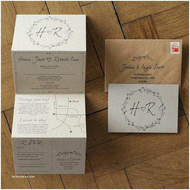 Rustic Wedding Invitation Sets Woodland Story Wedding Invitation Set Rustic Kraft Card