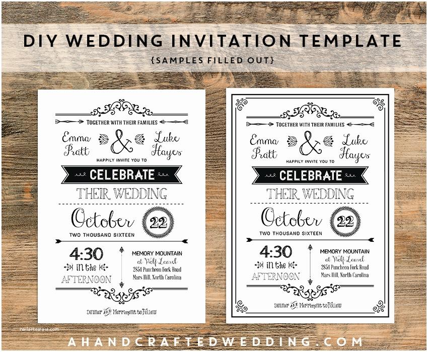 Rustic Wedding Invitation Templates Diy Black Rustic Wedding Invitation Templates Samples