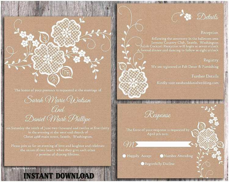Rustic Wedding Invitation Templates Diy Lace Wedding Invitation Template Set Editable Word