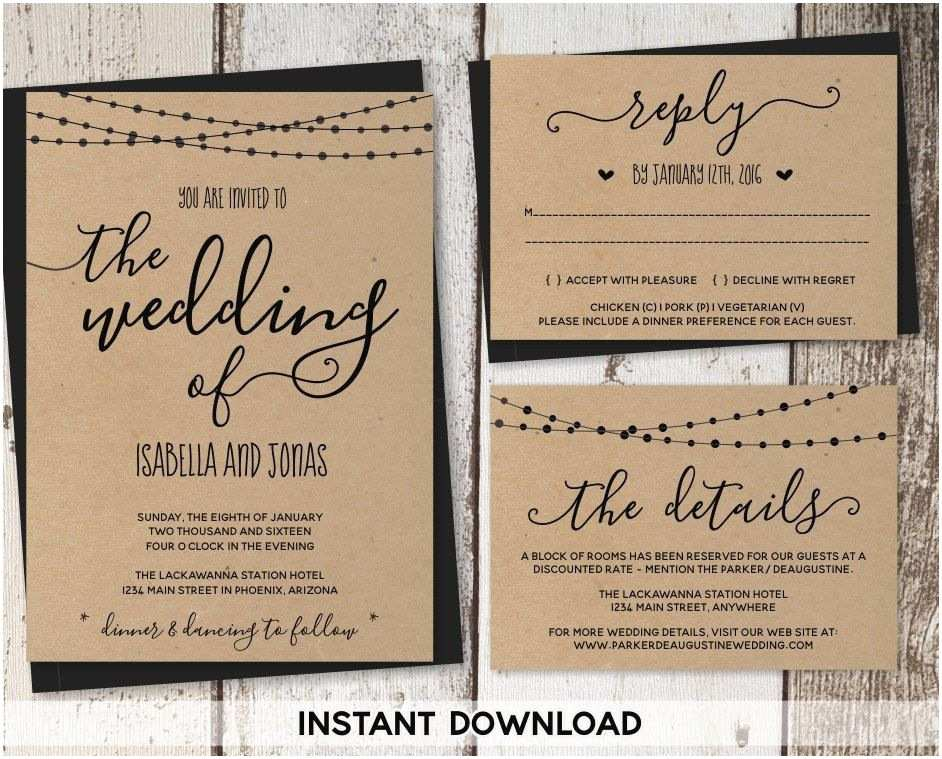 Rustic Wedding Invitation Templates Wedding Invitation Template Rustic Printable Set