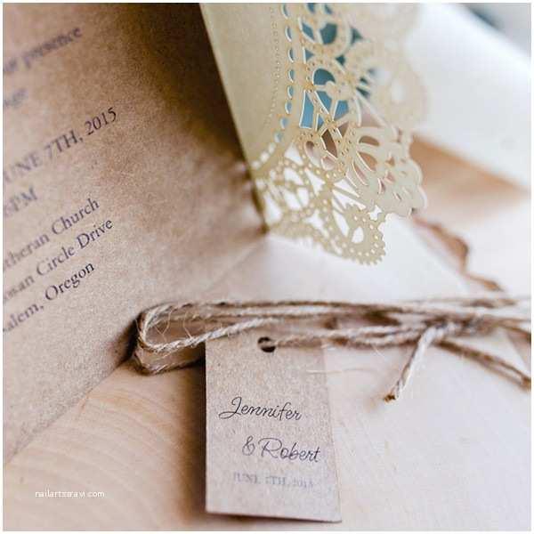 affordable rustic laser cut wedding invitation with tag ewws040