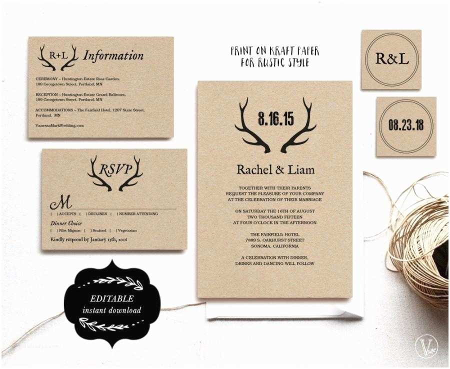 Rustic Wedding Invitations Online Printable Wedding Invitations Diy Wedding Invitation