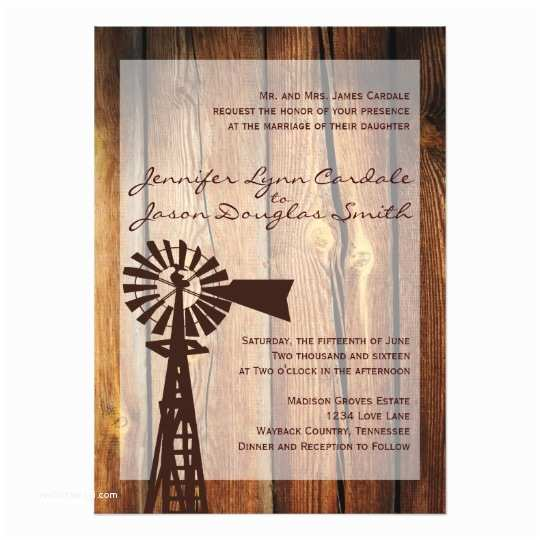 Rustic Wedding Invitations Online Rustic Country Windmill Wood Wedding Invitations