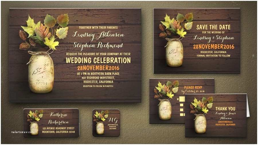 Rustic Wedding Invitations Under $1 Read More – Rustic Mason Jar and Fall Leaves Wedding