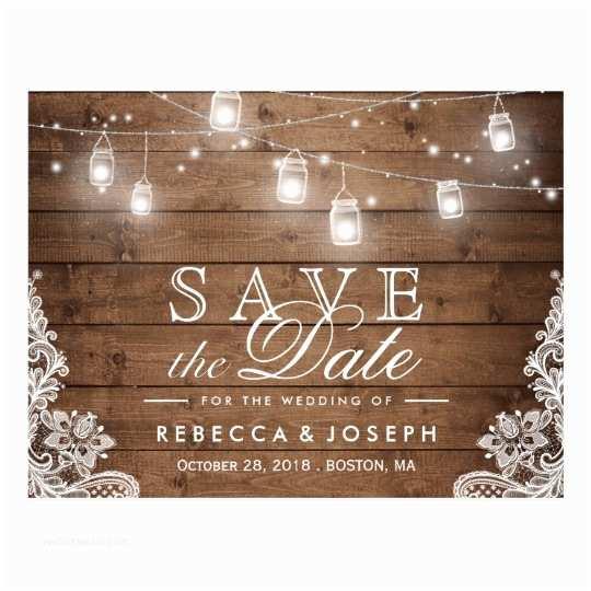 Rustic Wedding Invitations Under $1 Rustic Mason Jar Lights Lace Wedding Save the Date