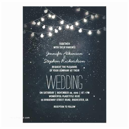 Rustic Wedding Invitations Under $1 String Lights and Night Sky Stars Wedding Invitation Card