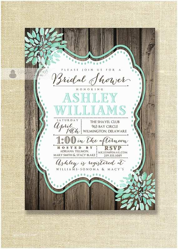 Rustic Wedding Shower Invitations Aqua Teal Bloom Bridal Shower Invitation Rustic Wood Shabby