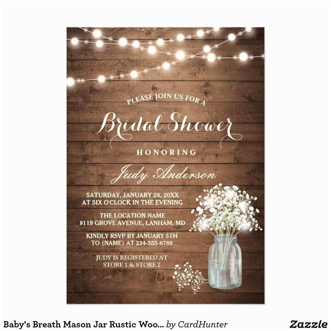 Rustic Wedding Shower Invitations Baby S Breath Mason Jar Rustic Wood Bridal Shower Card