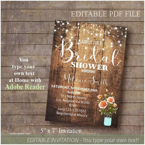 Rustic Wedding Shower Invitations Bridal Shower Invitation Rustic Invite Printable by