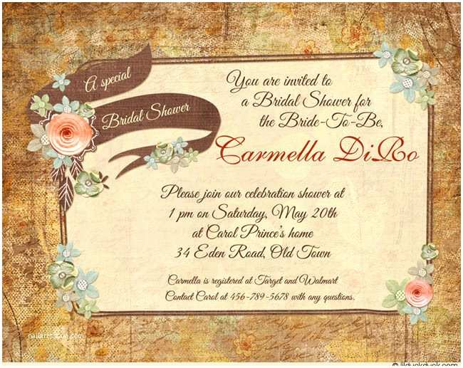Rustic Wedding Shower Invitations Country Chic Bridal Shower Invitation Rustic Personalized