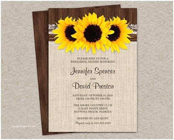 Rustic Wedding Shower Invitations Diy Printable Rustic Sunflower Rehearsal Dinner