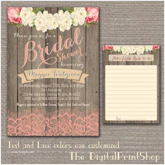 Rustic Wedding Shower Invitations Garden Rustic Baby Lingerie Bridal Shower Invite Wood Pink