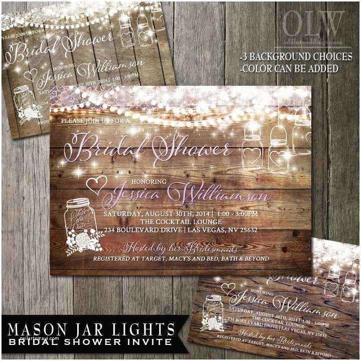 Rustic Wedding Shower Invitations Mason Jar Bridal Shower Invitation Rustic Bridal by