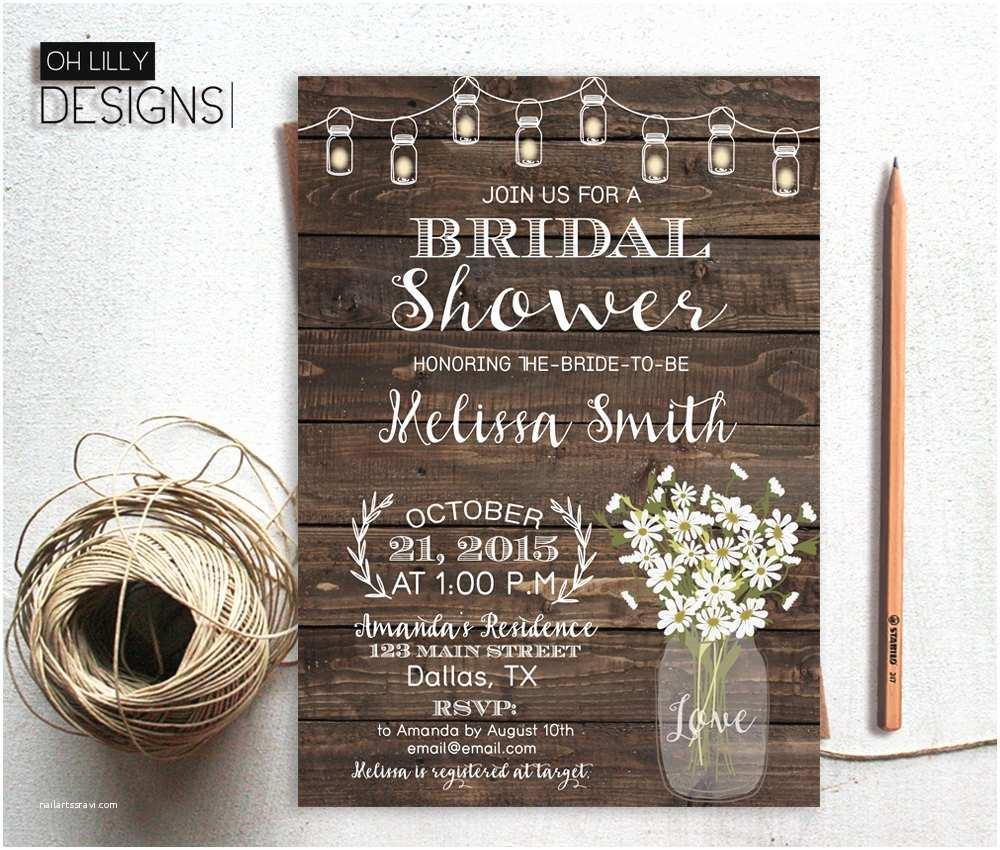 Rustic Wedding Shower Invitations Printable Bridal Shower Invite Fall Bridal Shower Invitation